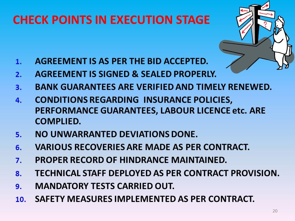 20 CHECK POINTS IN EXECUTION STAGE 1. AGREEMENT IS AS PER THE BID ACCEPTED.