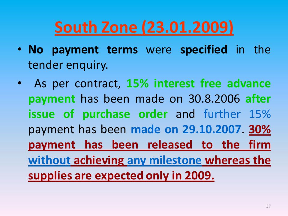 37 South Zone (23.01.2009) No payment terms were specified in the tender enquiry.