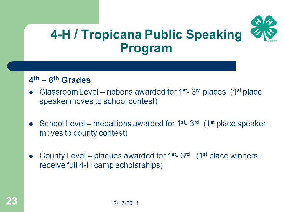 12/17/2014 23 4-H / Tropicana Public Speaking Program 4 th – 6 th Grades Classroom Level – ribbons awarded for 1 st - 3 rd places (1 st place speaker moves to school contest) School Level – medallions awarded for 1 st - 3 rd (1 st place speaker moves to county contest) County Level – plaques awarded for 1 st - 3 rd (1 st place winners receive full 4-H camp scholarships)