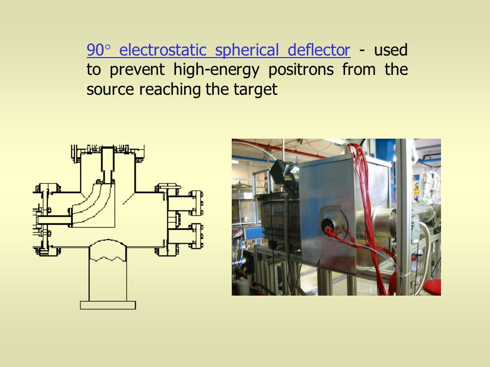 90  electrostatic spherical deflector - used to prevent high-energy positrons from the source reaching the target