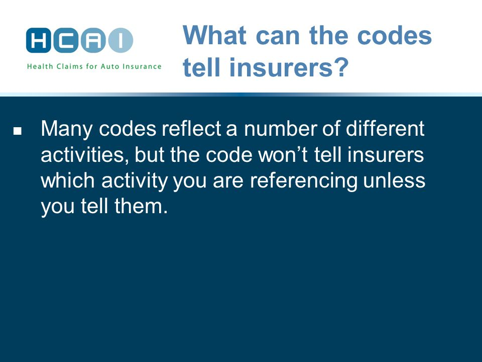 What can the codes tell insurers.