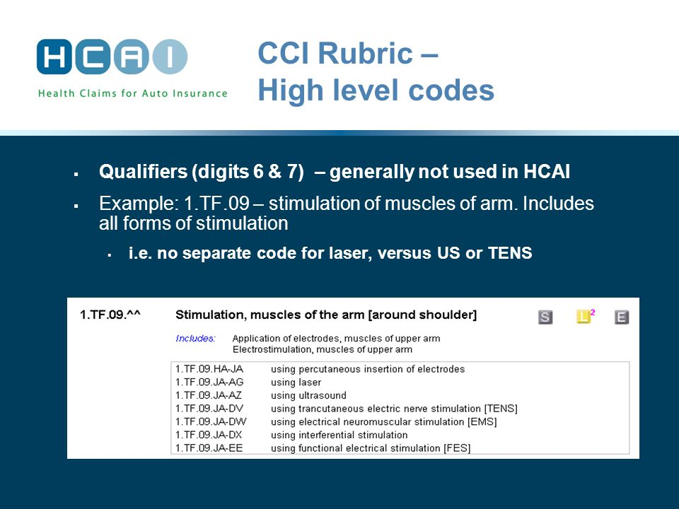 CCI Rubric – High level codes  Qualifiers (digits 6 & 7) – generally not used in HCAI  Example: 1.TF.09 – stimulation of muscles of arm.