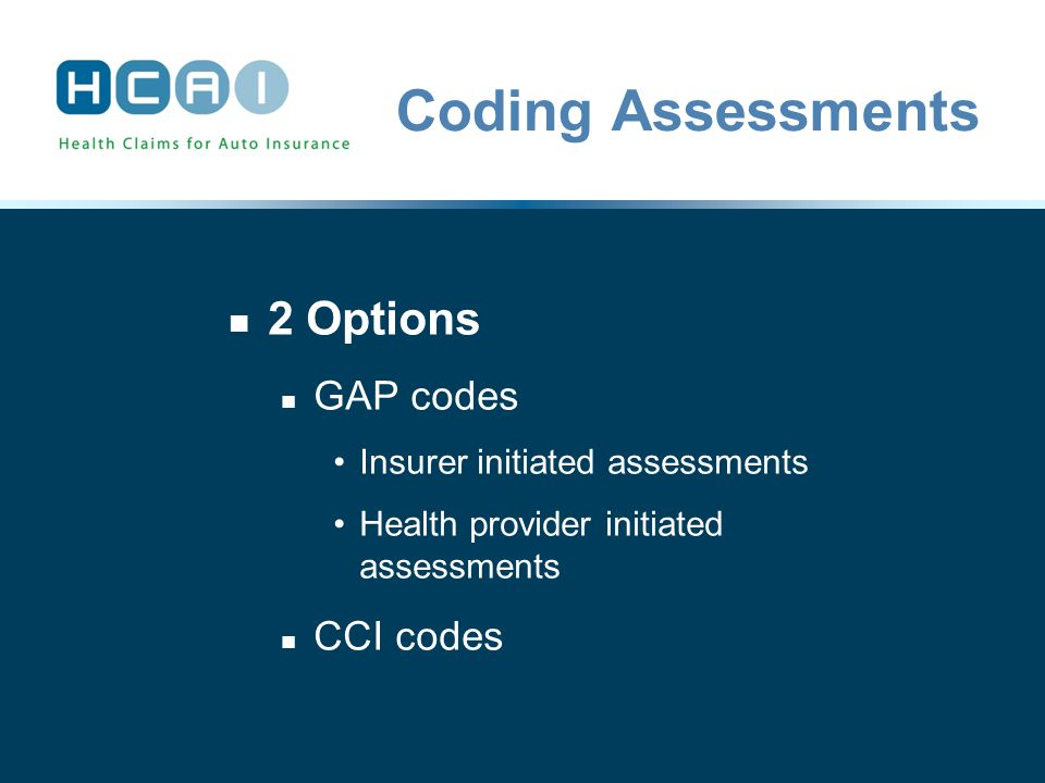Coding Assessments 2 Options GAP codes Insurer initiated assessments Health provider initiated assessments CCI codes