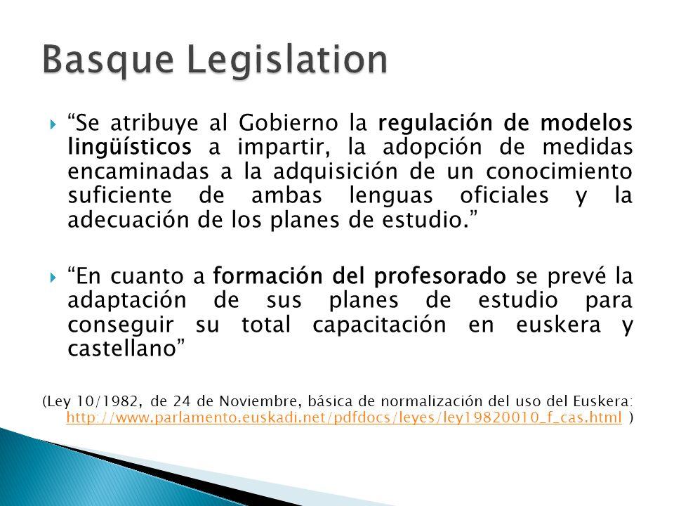  Se atribuye al Gobierno la regulación de modelos lingüísticos a impartir, la adopción de medidas encaminadas a la adquisición de un conocimiento suficiente de ambas lenguas oficiales y la adecuación de los planes de estudio.  En cuanto a formación del profesorado se prevé la adaptación de sus planes de estudio para conseguir su total capacitación en euskera y castellano (Ley 10/1982, de 24 de Noviembre, básica de normalización del uso del Euskera: http://www.parlamento.euskadi.net/pdfdocs/leyes/ley19820010_f_cas.html ) http://www.parlamento.euskadi.net/pdfdocs/leyes/ley19820010_f_cas.html