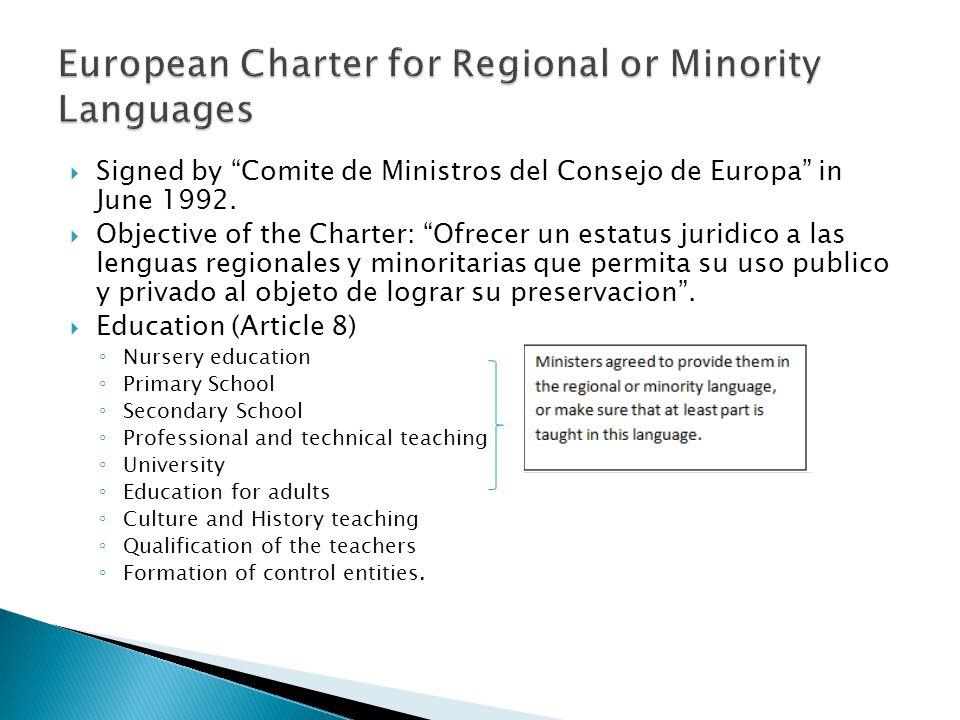  Signed by Comite de Ministros del Consejo de Europa in June 1992.