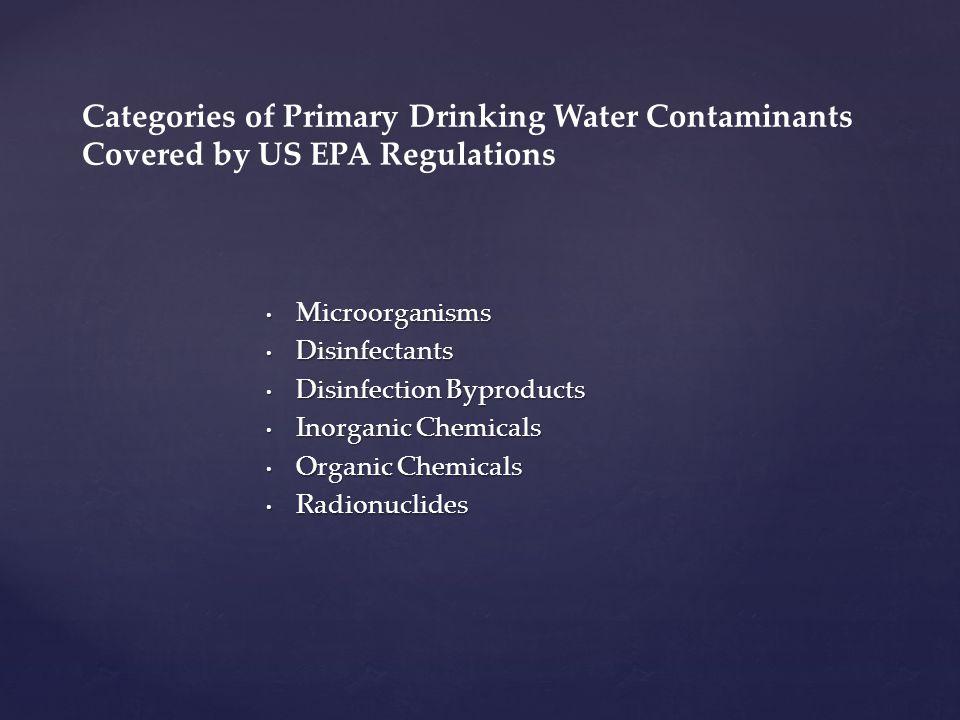 Microorganisms Microorganisms Disinfectants Disinfectants Disinfection Byproducts Disinfection Byproducts Inorganic Chemicals Inorganic Chemicals Orga