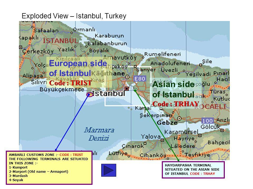 of Istanbul Code : TRHAY HAYDARPASHA TERMINAL SITUATED ON THE ASIAN SIDE OF ISTANBUL CODE : TRHAY European side of Istanbul Code : TRIST AMBARLI CUSTO