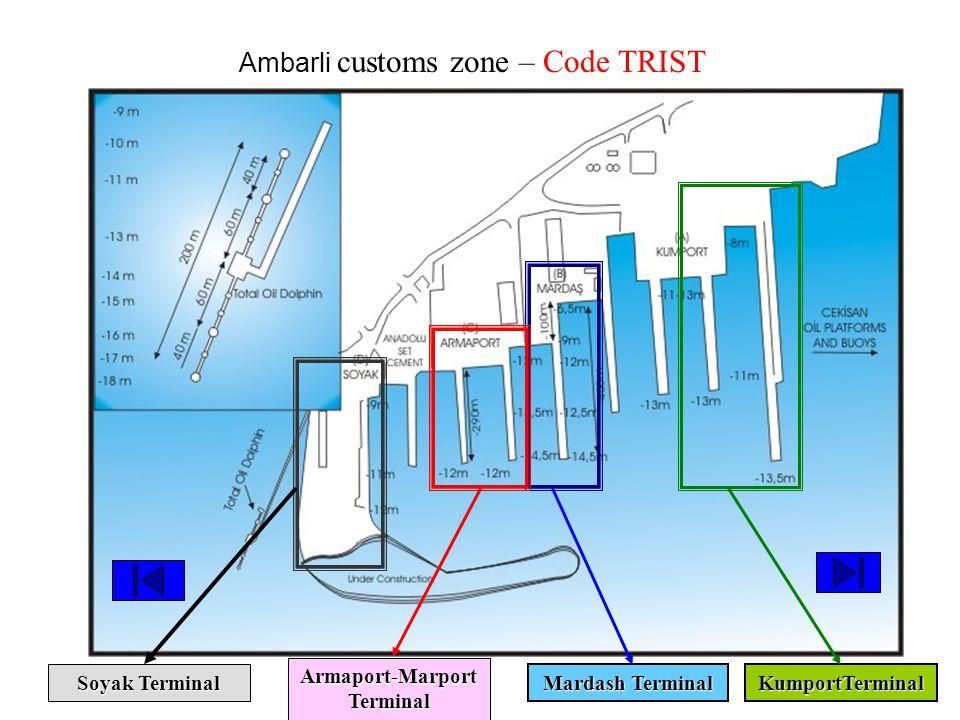KumportTerminal Mardash Terminal Armaport-Marport Terminal Soyak Terminal Ambarli customs zone – Code TRIST