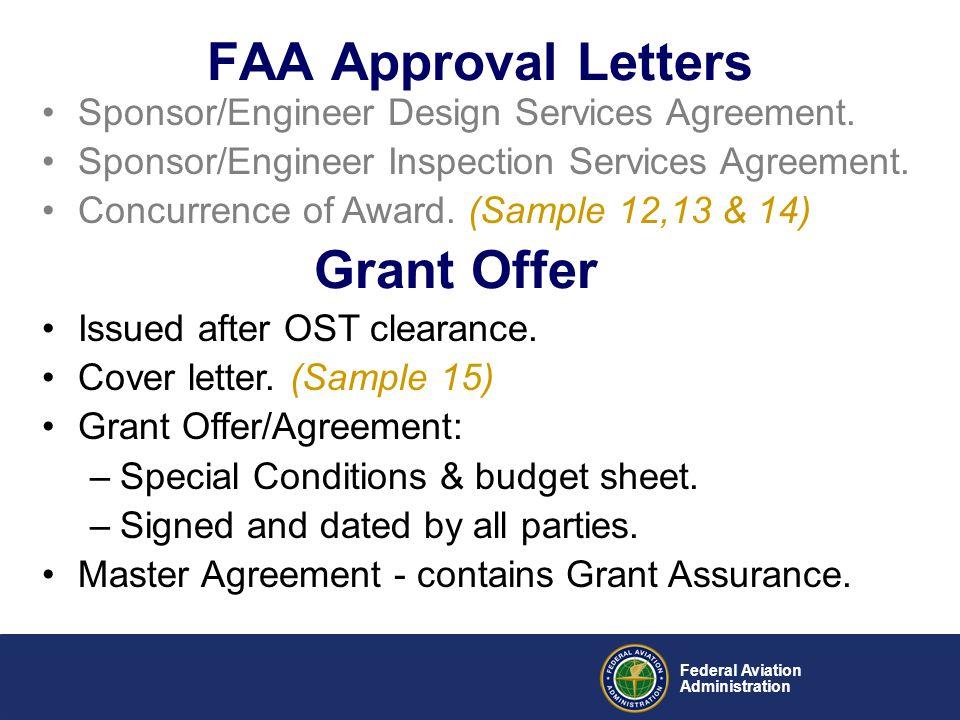 Federal Aviation Administration Sponsor/Engineer Design Services Agreement. Sponsor/Engineer Inspection Services Agreement. Concurrence of Award. (Sam