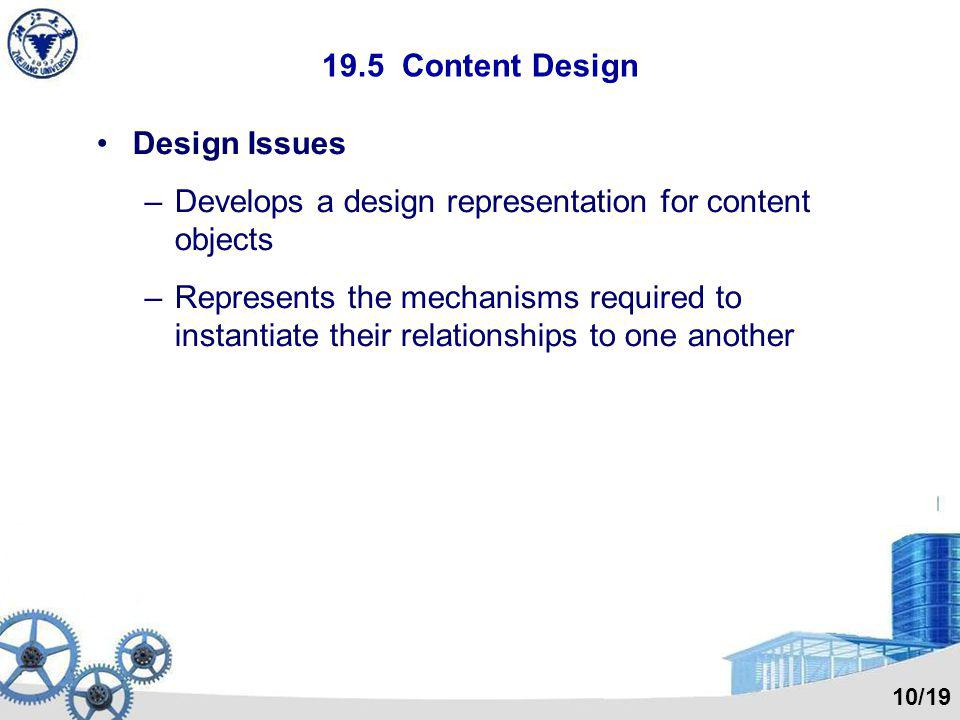 19.5 Content Design Design Issues –Develops a design representation for content objects –Represents the mechanisms required to instantiate their relat