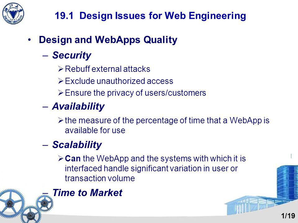 19.1 Design Issues for Web Engineering Design and WebApps Quality –Security  Rebuff external attacks  Exclude unauthorized access  Ensure the priva