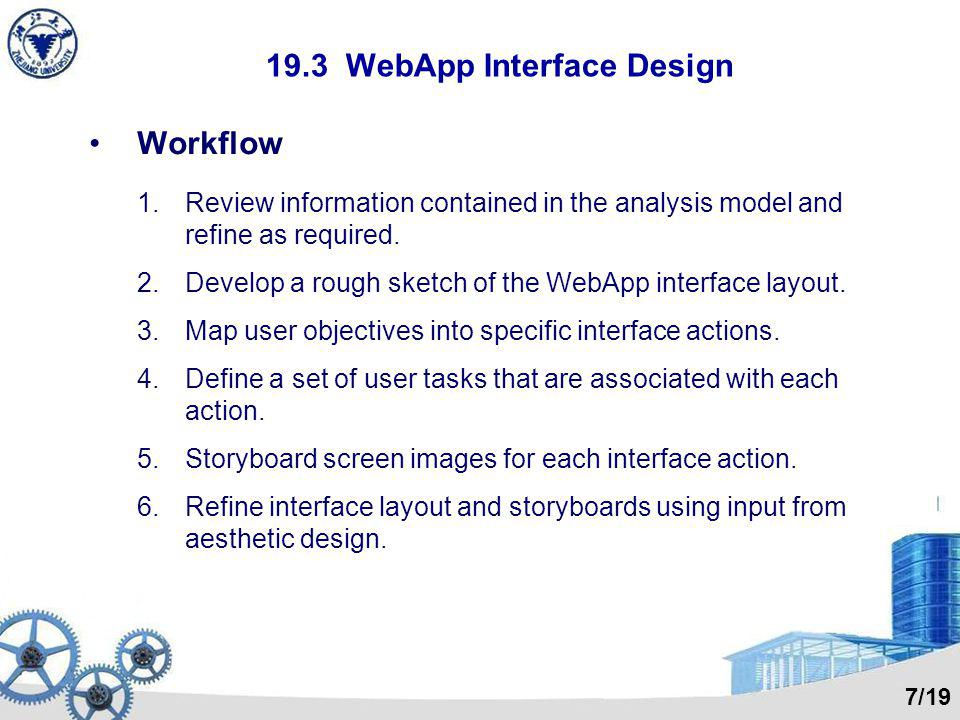 19.3 WebApp Interface Design Workflow 1.Review information contained in the analysis model and refine as required. 2.Develop a rough sketch of the Web