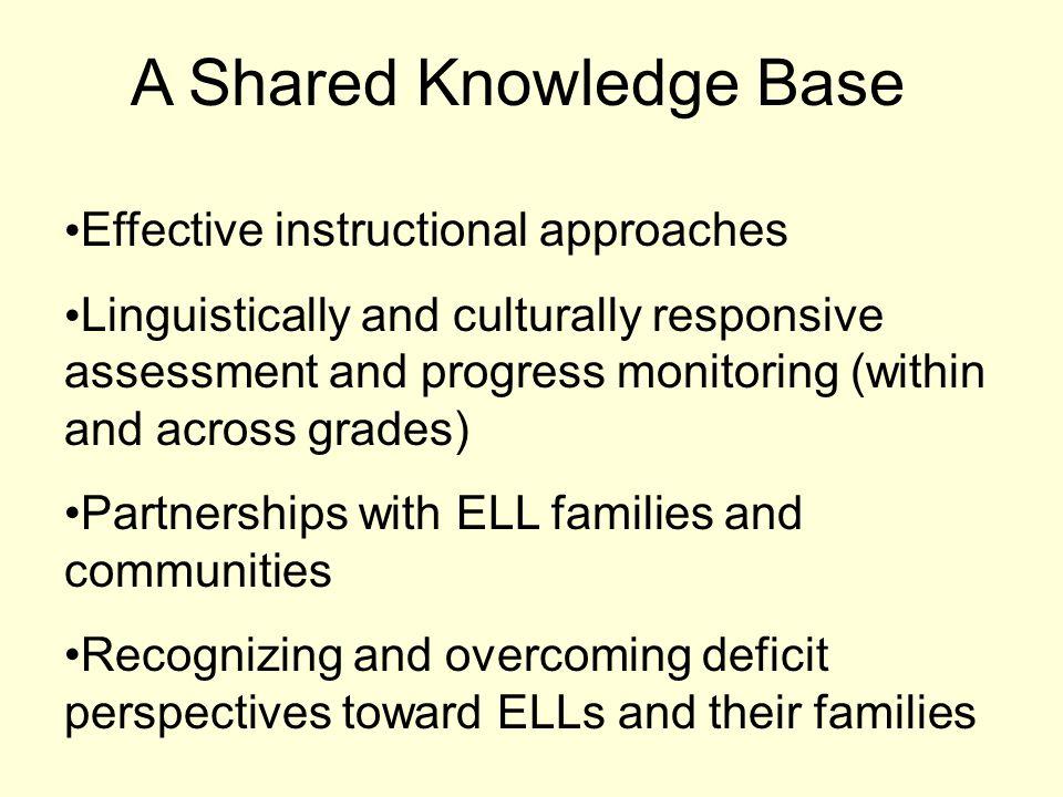 A Shared Knowledge Base Effective instructional approaches Linguistically and culturally responsive assessment and progress monitoring (within and across grades) Partnerships with ELL families and communities Recognizing and overcoming deficit perspectives toward ELLs and their families
