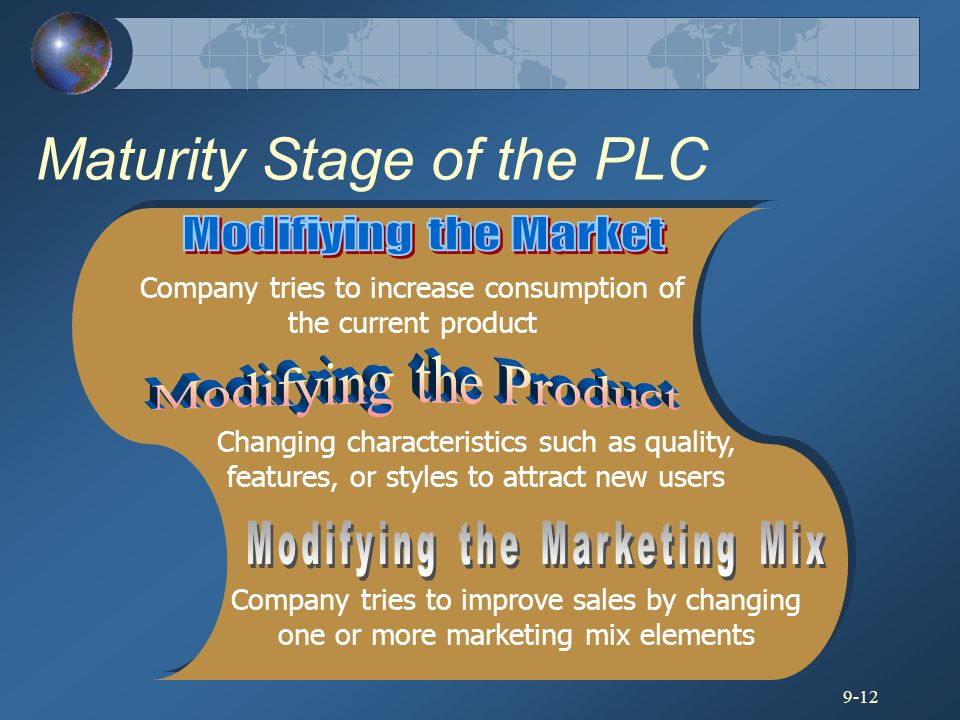 9-12 Maturity Stage of the PLC Company tries to increase consumption of the current product Changing characteristics such as quality, features, or sty
