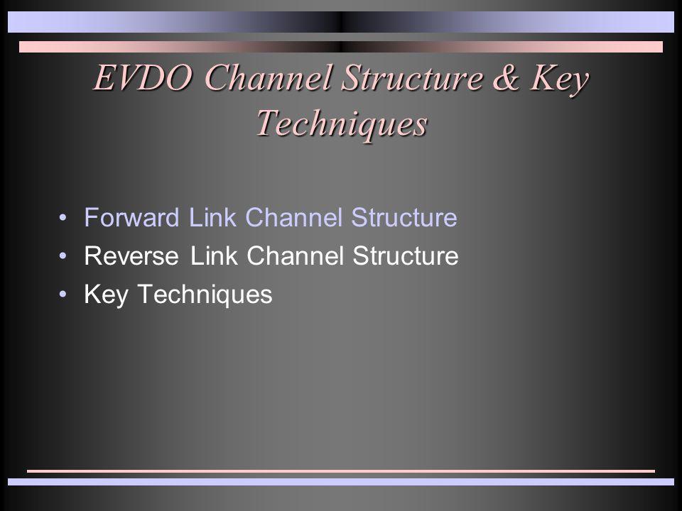 EVDO Channel Structure & Key Techniques Forward Link Channel Structure Reverse Link Channel Structure Key Techniques