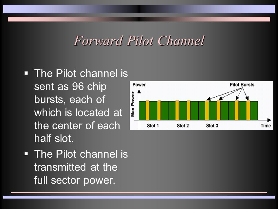 Forward Pilot Channel  The Pilot channel is sent as 96 chip bursts, each of which is located at the center of each half slot.  The Pilot channel is