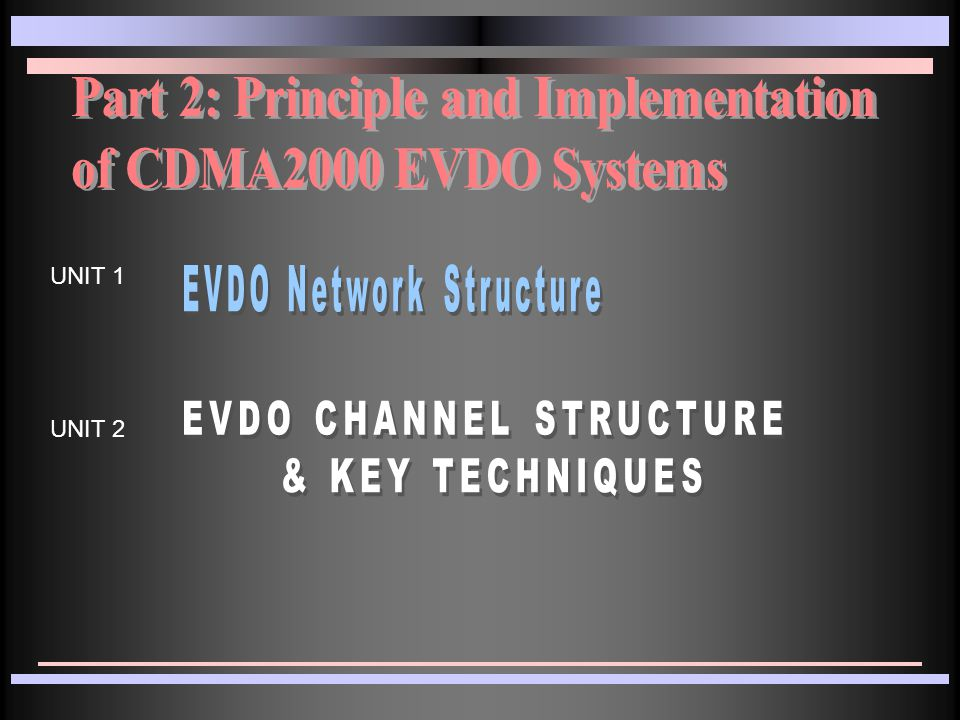 EVDO Theory Unit 1