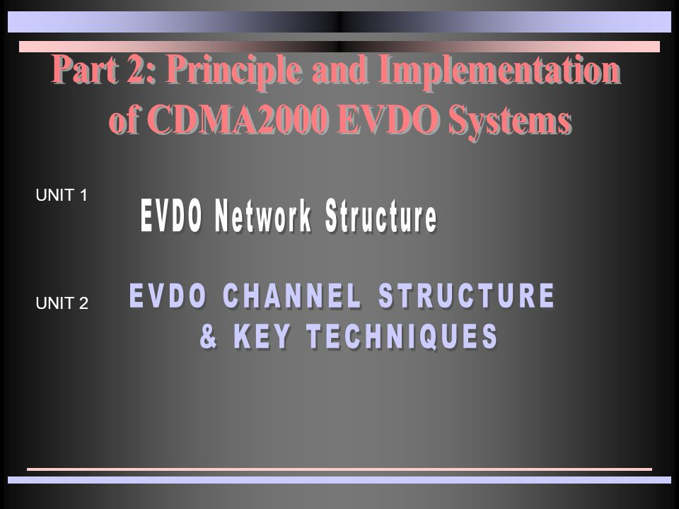 EVDO Channel Structure & Key Techniques Forward Link Channel Structure Reverse Link Channel Structure Key Techniques
