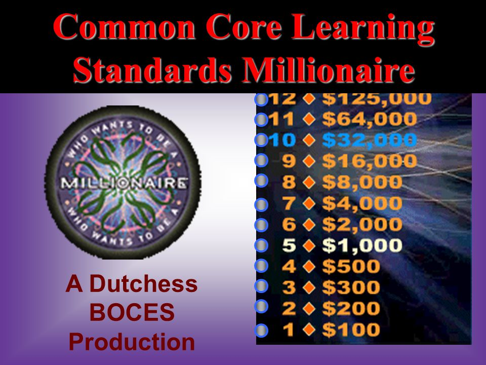Common Core Learning Standards Millionaire A Dutchess BOCES Production