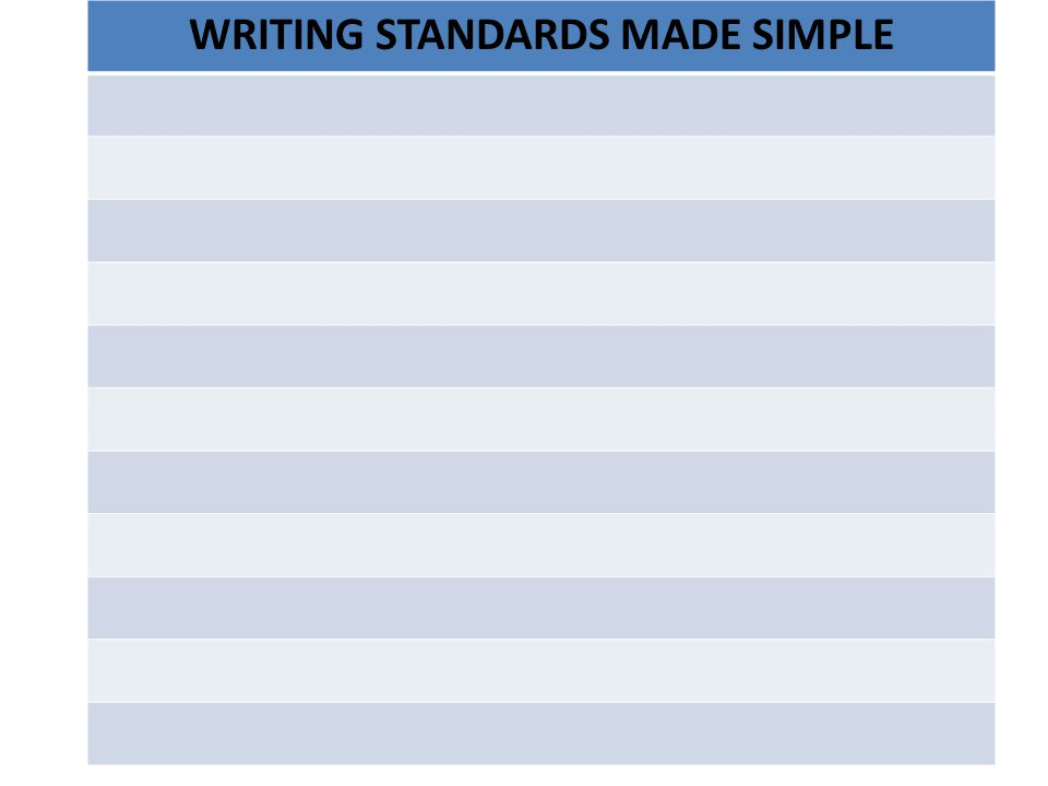 WRITING STANDARDS MADE SIMPLE