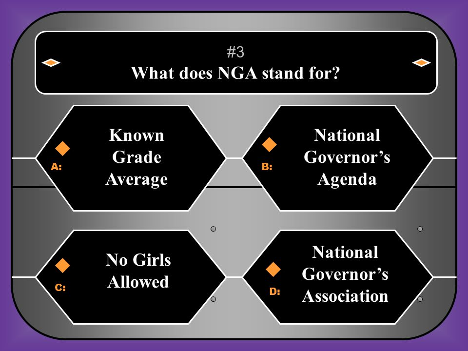 A:B: Known Grade Average National Governor's Agenda #3 What does NGA stand for.