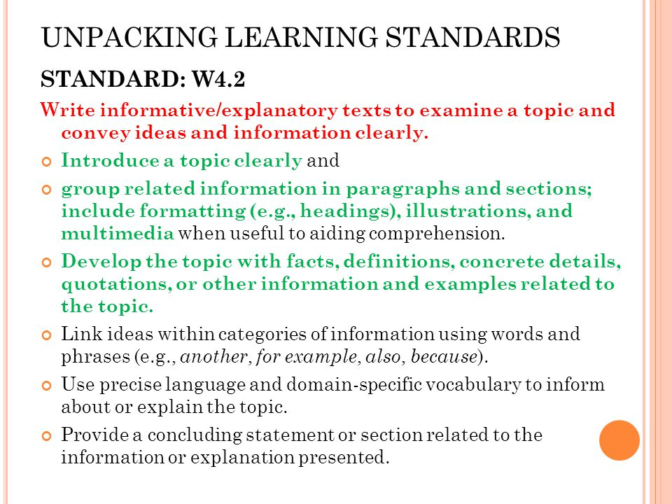 UNPACKING LEARNING STANDARDS STANDARD: W4.2 Write informative/explanatory texts to examine a topic and convey ideas and information clearly.