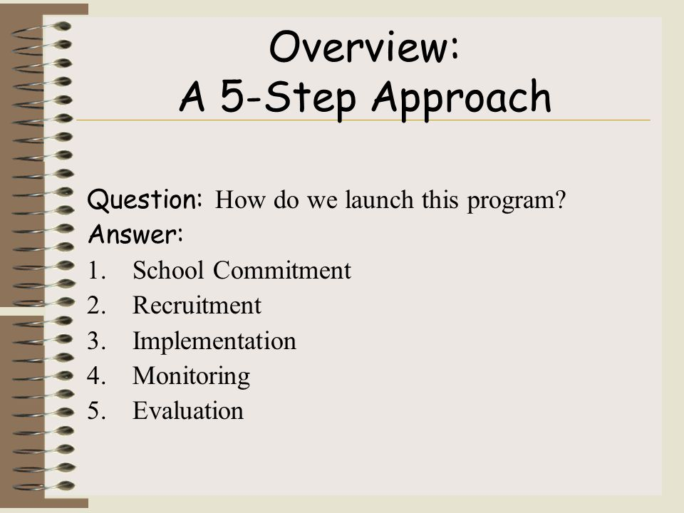 Overview: A 5-Step Approach Question: How do we launch this program.