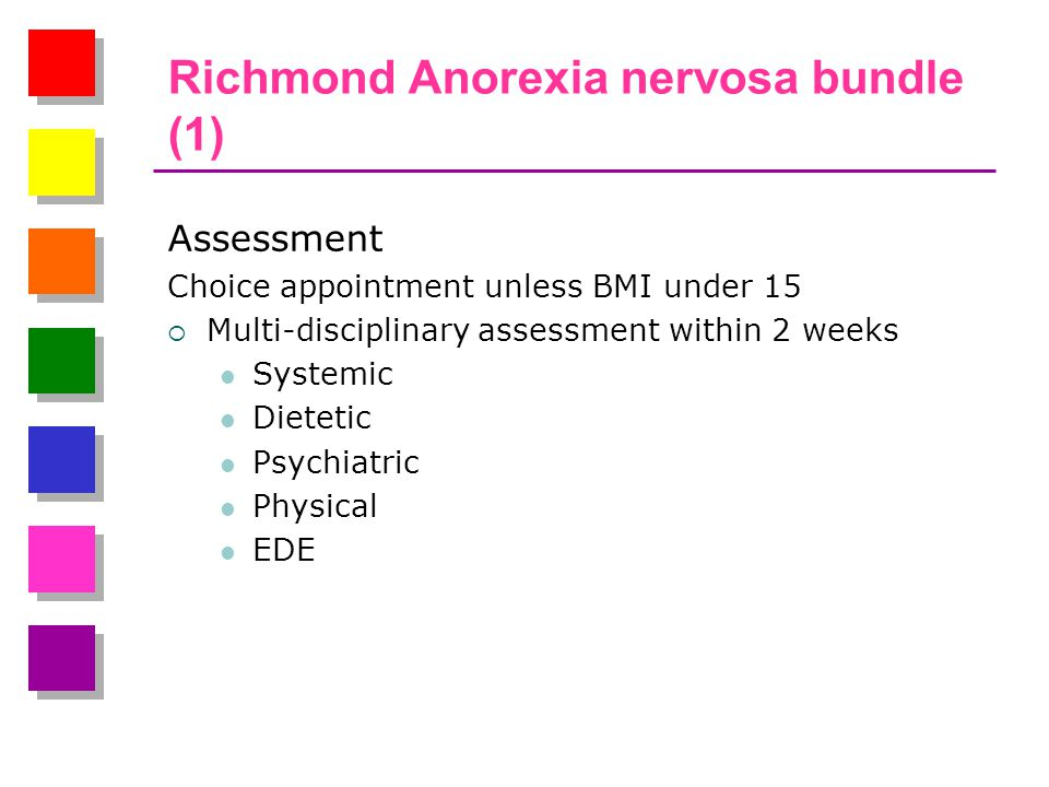 Richmond Anorexia nervosa bundle (1) Assessment Choice appointment unless BMI under 15  Multi-disciplinary assessment within 2 weeks Systemic Dietetic Psychiatric Physical EDE