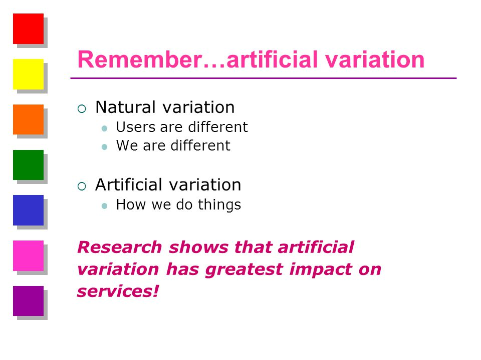 Remember…artificial variation  Natural variation Users are different We are different  Artificial variation How we do things Research shows that artificial variation has greatest impact on services!