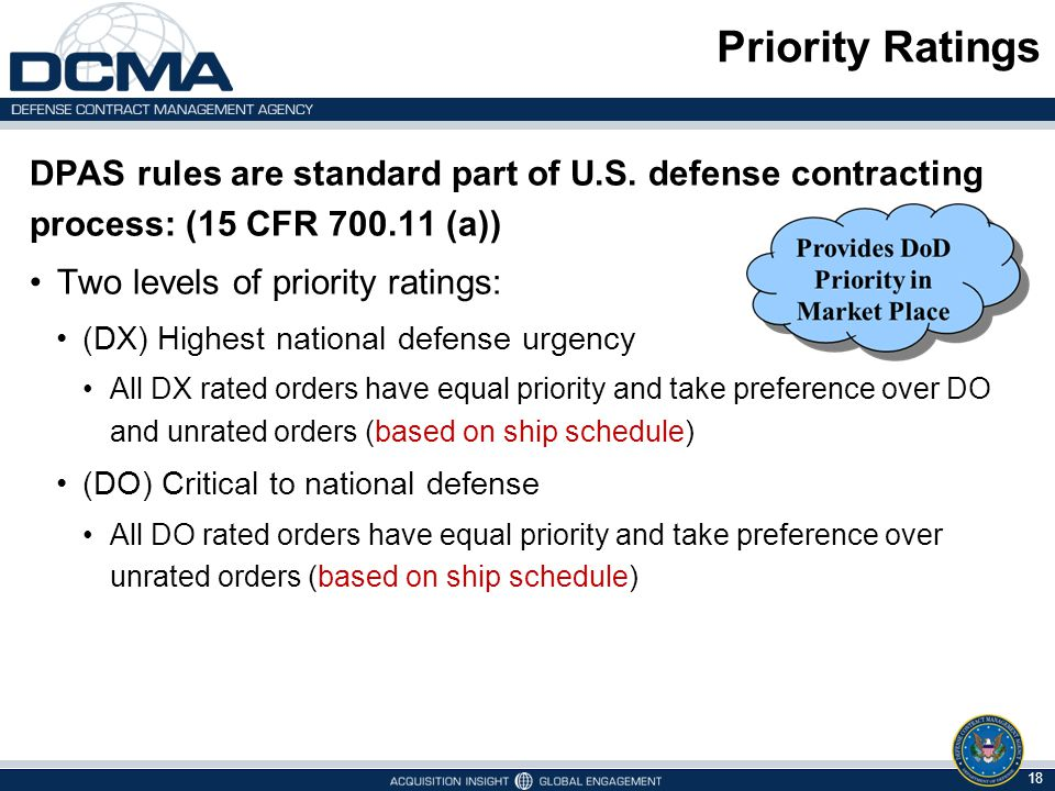 Priority Ratings DPAS rules are standard part of U.S. defense contracting process: (15 CFR 700.11 (a)) Two levels of priority ratings: (DX) Highest na