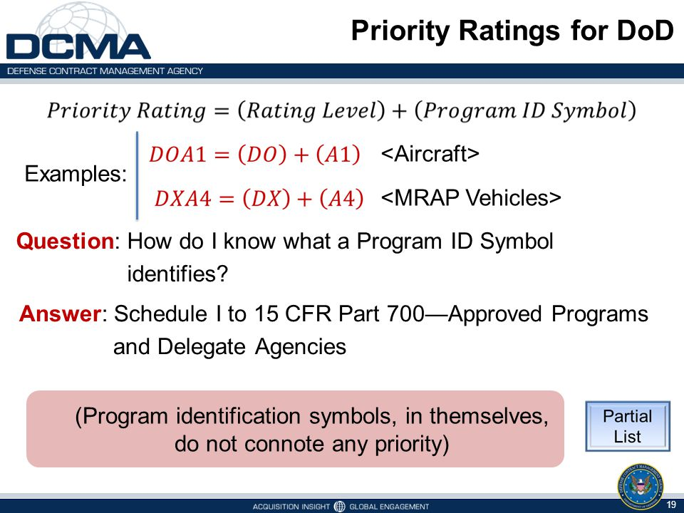 Priority Ratings for DoD Question: How do I know what a Program ID Symbol identifies? 19 (Program identification symbols, in themselves, do not connot