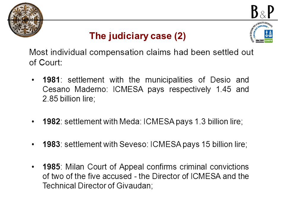 1981: settlement with the municipalities of Desio and Cesano Maderno: ICMESA pays respectively 1.45 and 2.85 billion lire; 1982: settlement with Meda: