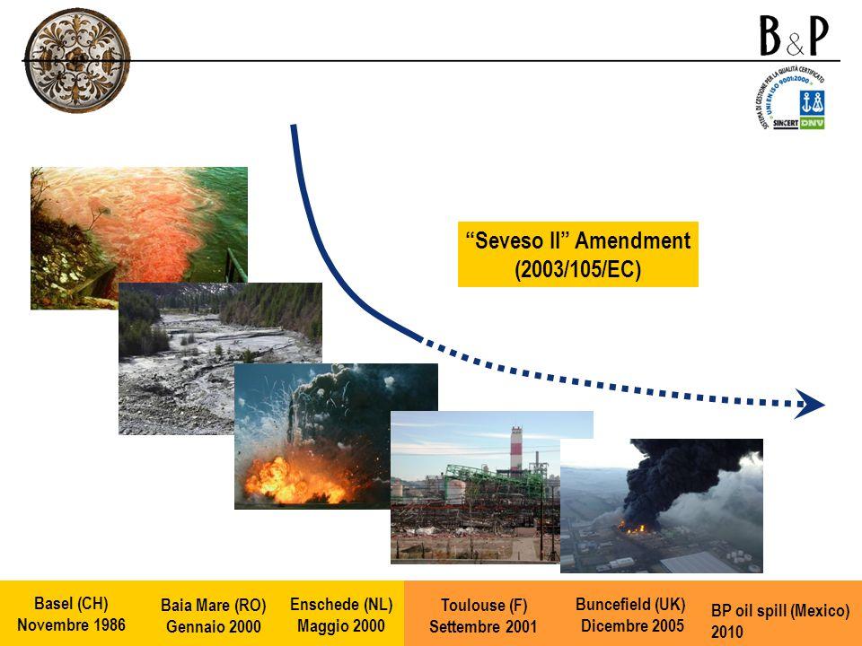 Seveso II Amendment (2003/105/EC) Enschede (NL) Maggio 2000 Toulouse (F) Settembre 2001 Buncefield (UK) Dicembre 2005 Baia Mare (RO) Gennaio 2000 Basel (CH) Novembre 1986 BP oil spill (Mexico) 2010