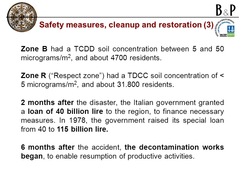 "Zone B had a TCDD soil concentration between 5 and 50 micrograms/m 2, and about 4700 residents. Zone R (""Respect zone"") had a TDCC soil concentration"