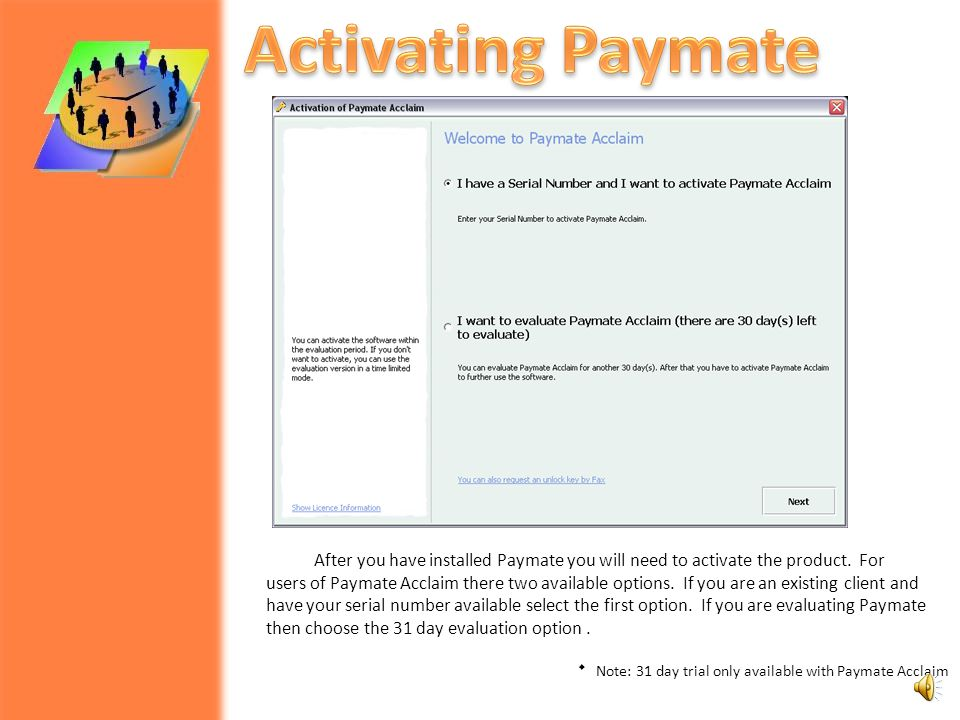  Activating Paymate  Activation  Online Activation  Fax Activation  Review and Verify Activation and License Terms  Updating Activation Key  Ab
