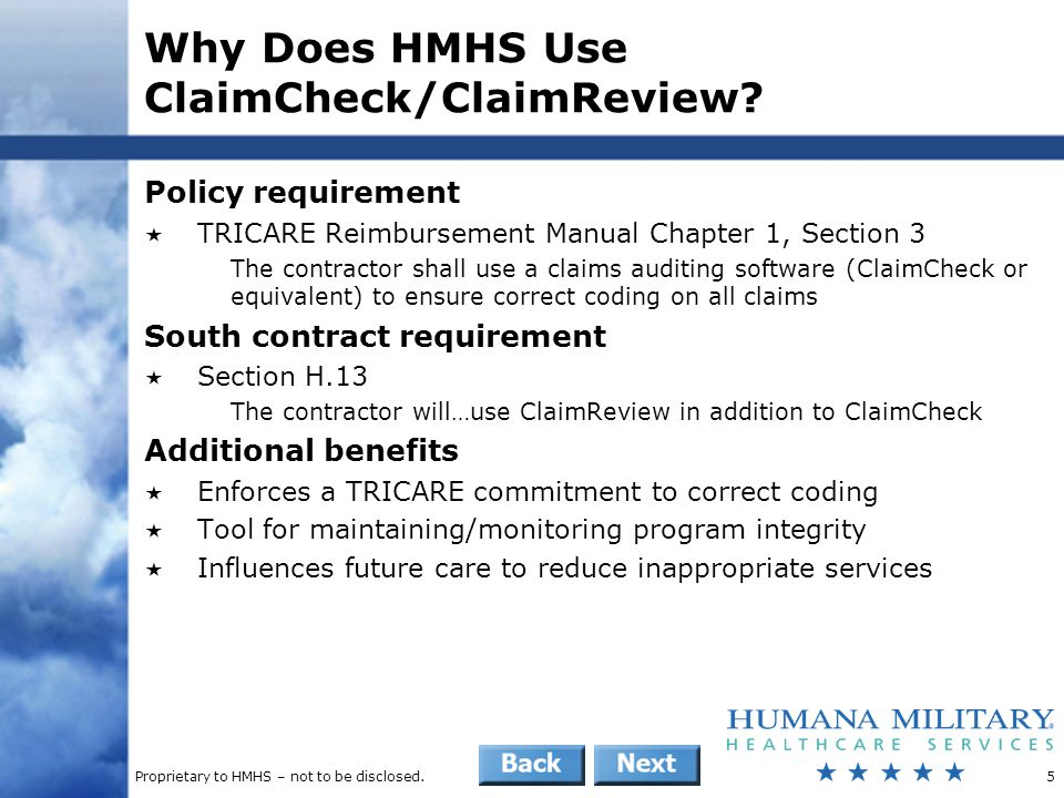 Proprietary to HMHS – not to be disclosed.16 Provider Education: Provider Remittance  Reason code messaging provides education per claim line R6CLA – Procedure is incidental to another procedure R6CLB – Medical visit included in allowance for surgical/medical treatment R6CLC – Procedure is rebundled with another procedure R6CLD – Procedure is mutually exclusive to another procedure R6CLE – Preoperative care included in surgical allowance R6CLF – Postoperative care included in surgical allowance R6CLG – Procedure does not warrant an assistant surgeon R6CLH – Duplicate service P9CTO – Level of care billed not substantiated.