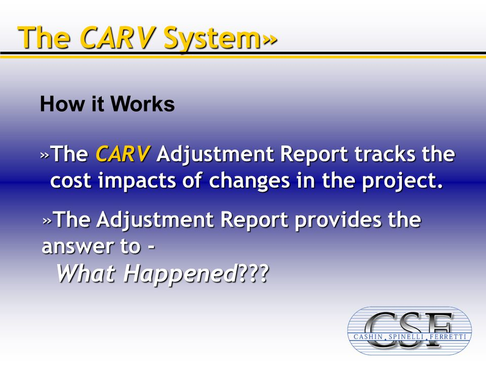 The CARV System» »The CARV Adjustment Report tracks the cost impacts of changes in the project.