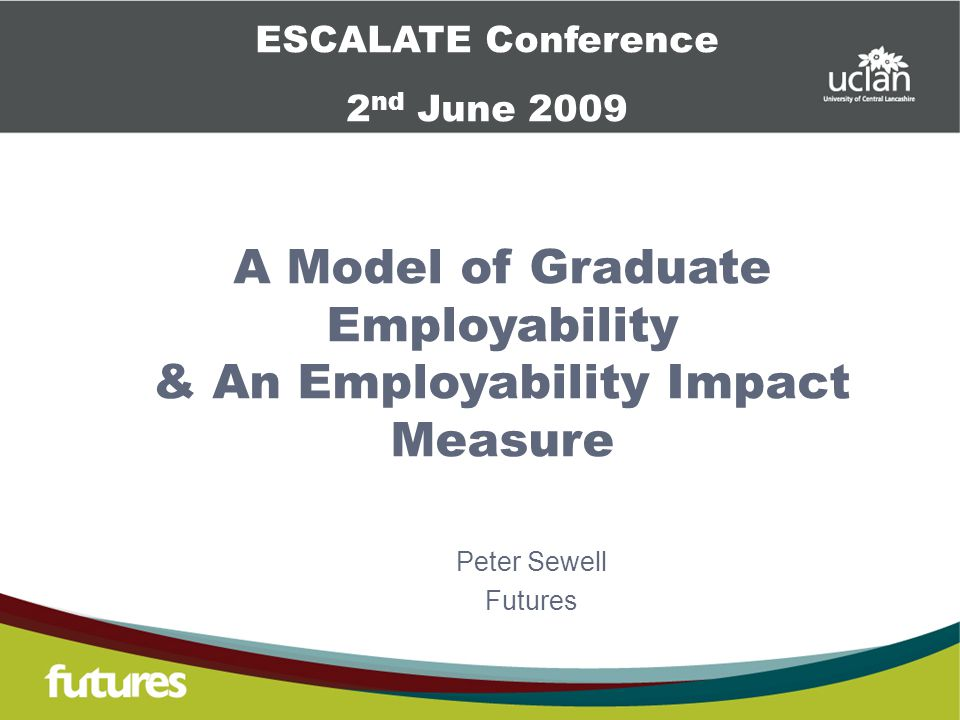 A Model of Graduate Employability & An Employability Impact Measure Peter Sewell Futures ESCALATE Conference 2 nd June 2009