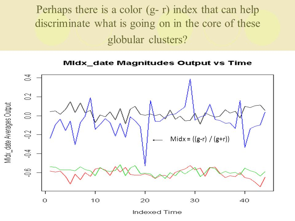 Perhaps there is a color (g- r) index that can help discriminate what is going on in the core of these globular clusters.