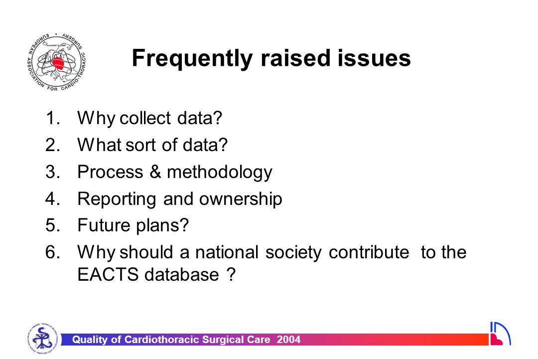 Quality of Cardiothoracic Surgical Care 2004 Why collect data.