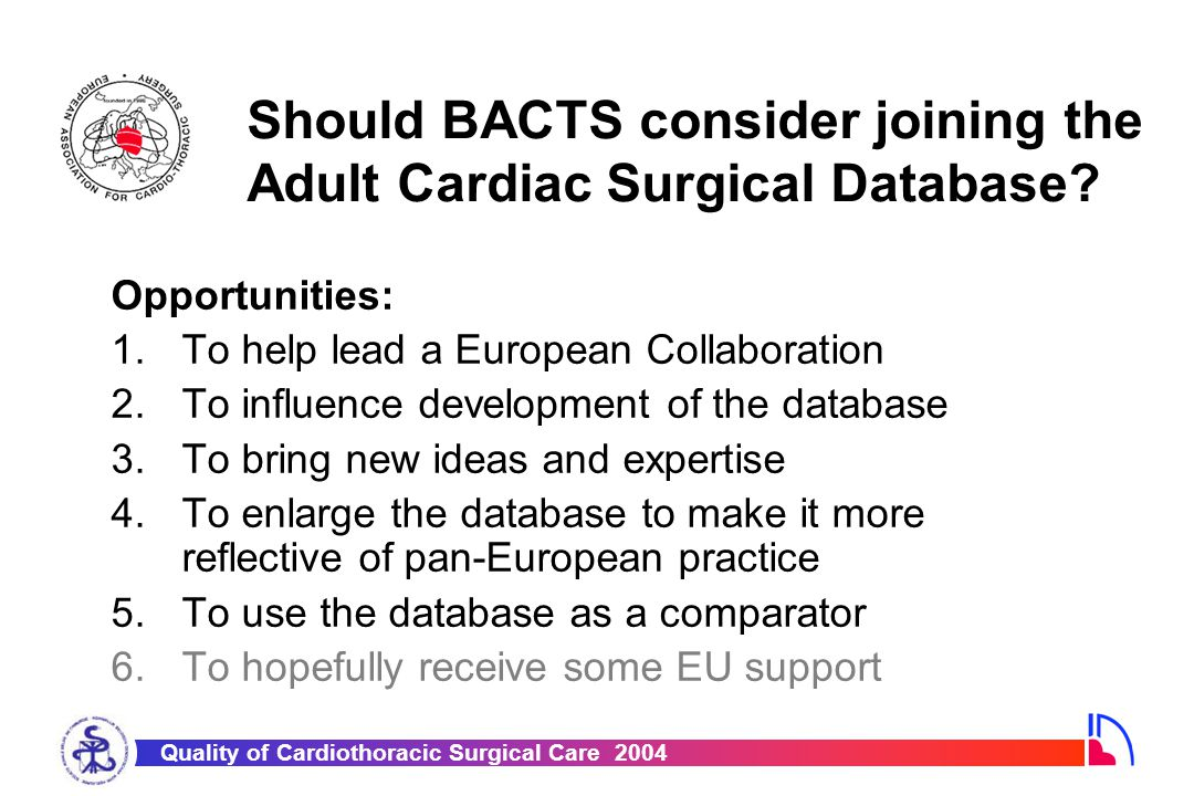 Quality of Cardiothoracic Surgical Care 2004 Should BACTS consider joining the Adult Cardiac Surgical Database? Opportunities: 1.To help lead a Europe