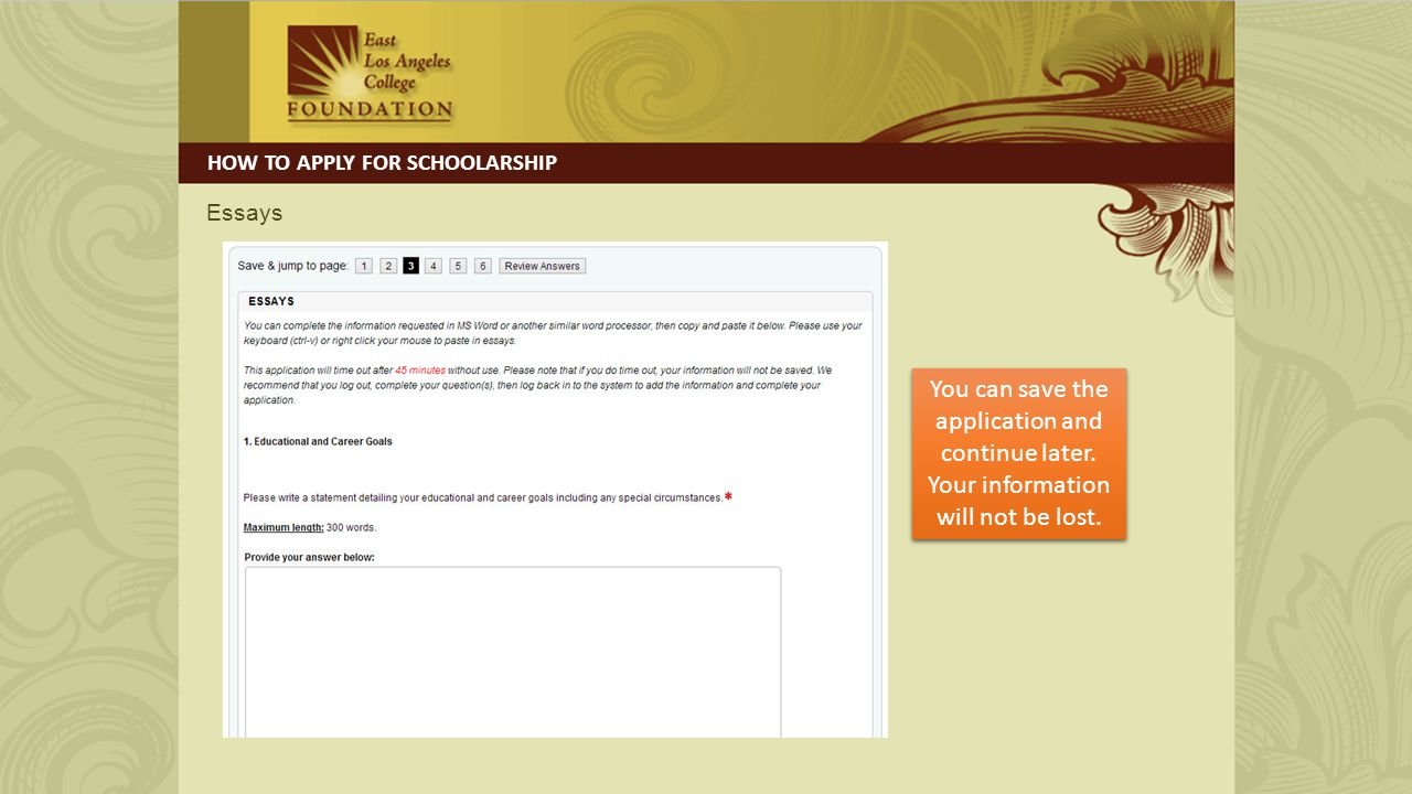 Financial Need HOW TO APPLY FOR SCHOOLARSHIP