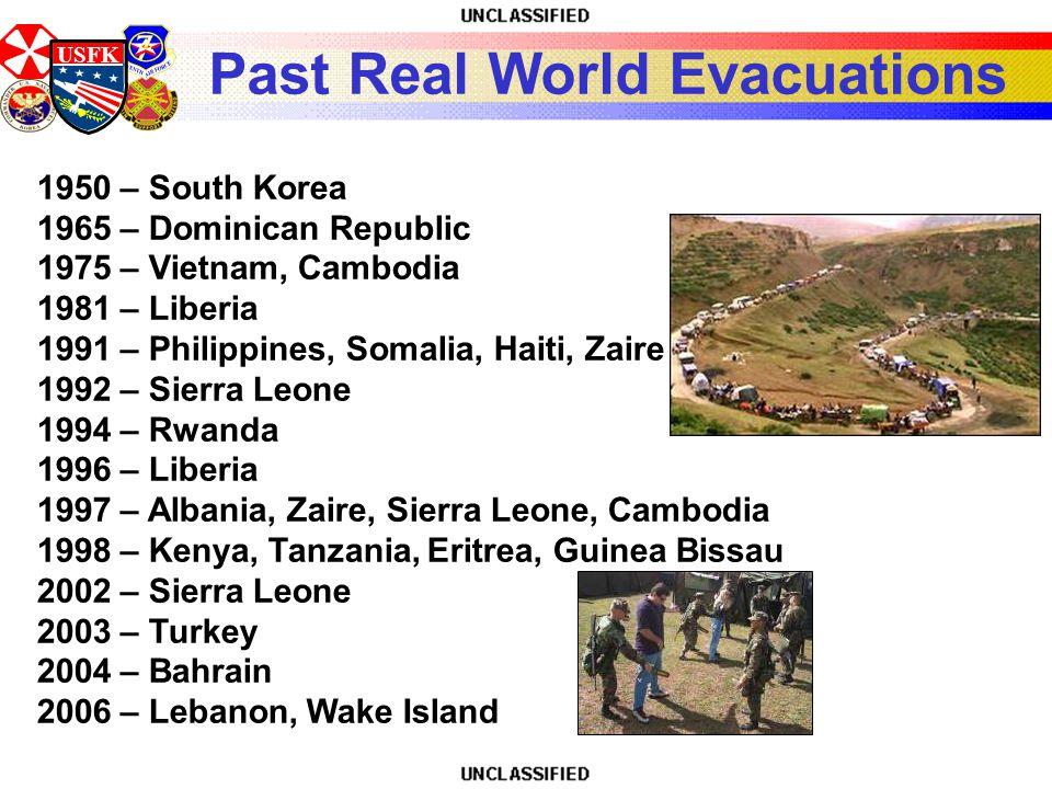 USFK Past Real World Evacuations 1950 – South Korea 1965 – Dominican Republic 1975 – Vietnam, Cambodia 1981 – Liberia 1991 – Philippines, Somalia, Hai