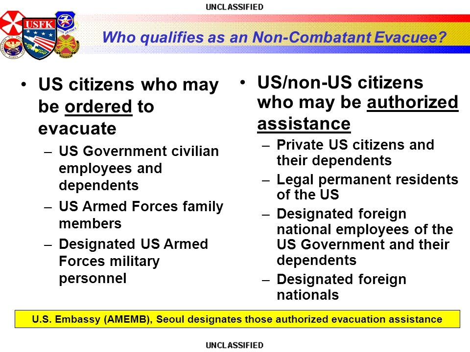 USFK Who qualifies as an Non-Combatant Evacuee.