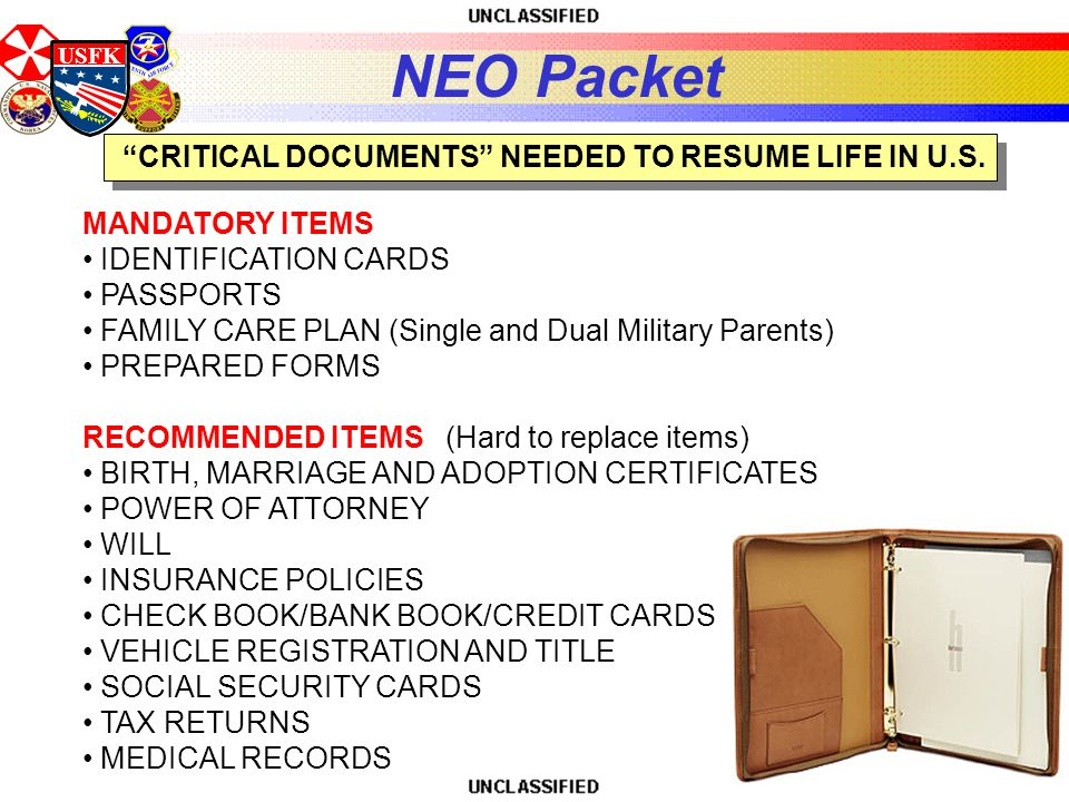 USFK CRITICAL DOCUMENTS NEEDED TO RESUME LIFE IN U.S.