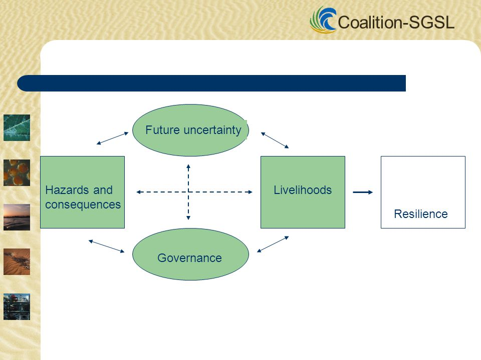 Coalition-SGSL Future uncertainty Governance Hazards and consequences Livelihoods Resilience