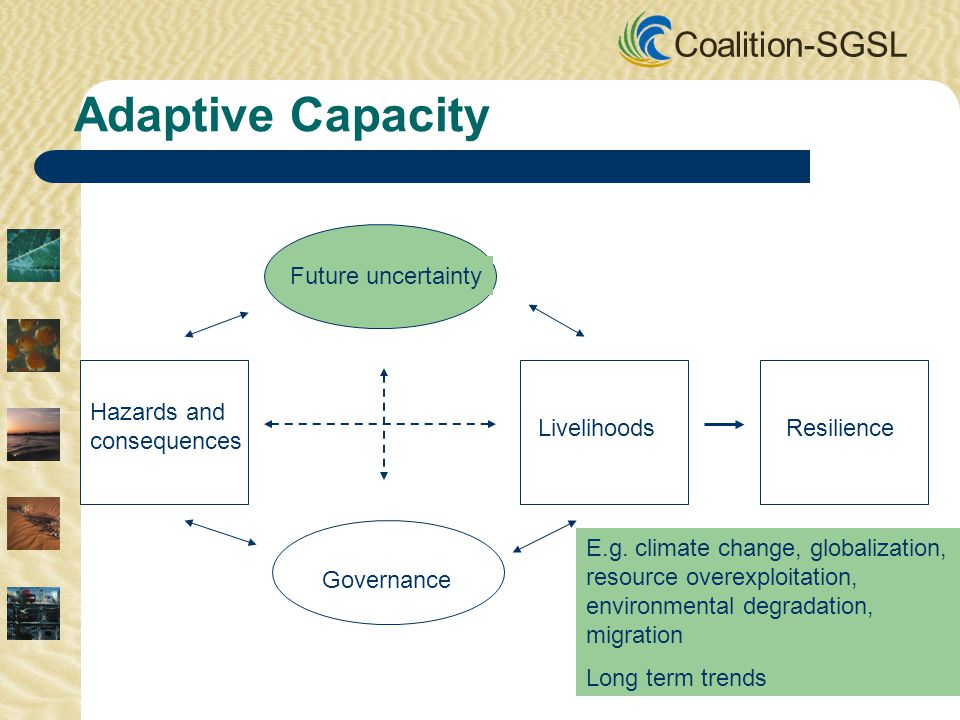 Coalition-SGSL Future uncertainty Governance Hazards and consequences LivelihoodsResilience Adaptive Capacity E.g. climate change, globalization, reso