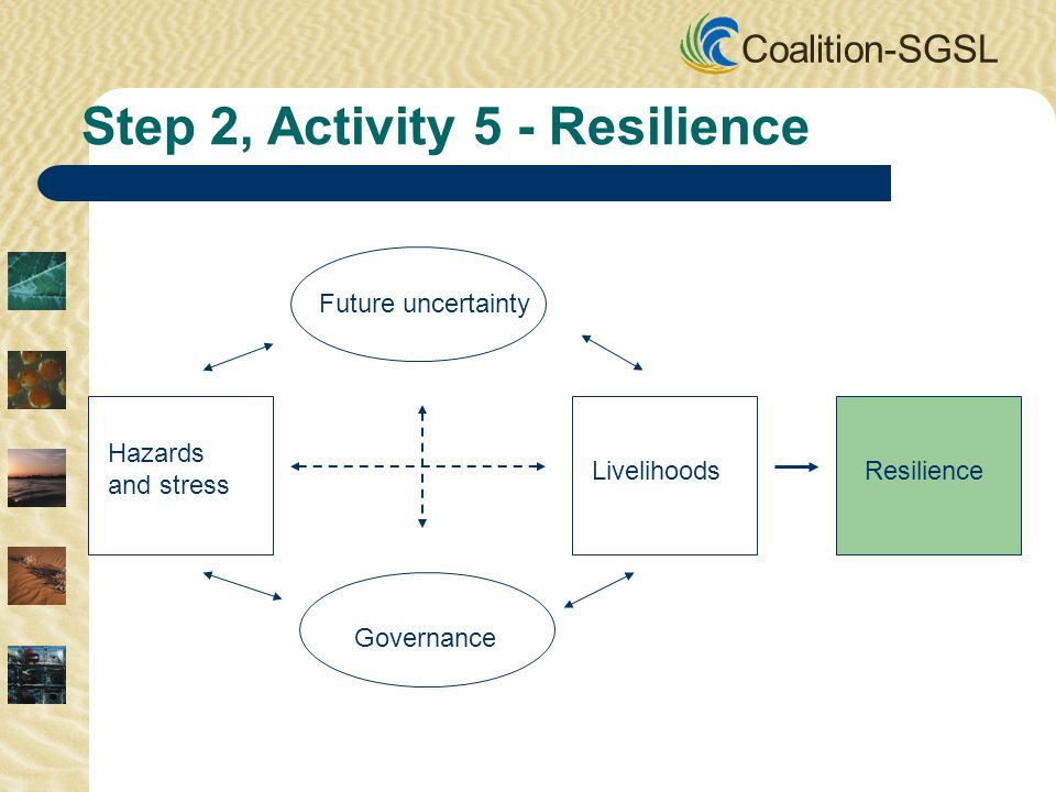 Coalition-SGSL Future uncertainty Governance Hazards and stress LivelihoodsResilience Step 2, Activity 5 - Resilience