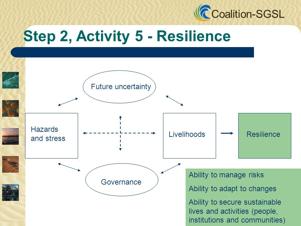 Coalition-SGSL Future uncertainty Governance Hazards and stress LivelihoodsResilience Step 2, Activity 5 - Resilience Ability to manage risks Ability