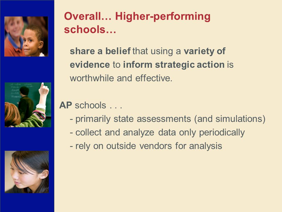 share a belief that using a variety of evidence to inform strategic action is worthwhile and effective. AP schools... - primarily state assessments (a